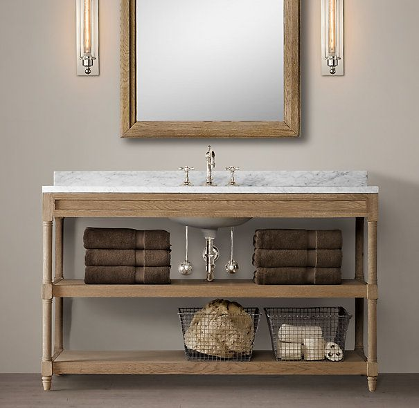 Weathered Oak Extra Wide Single Washstand Anglais With Italian Pietra Grigio Marble Top 55 W