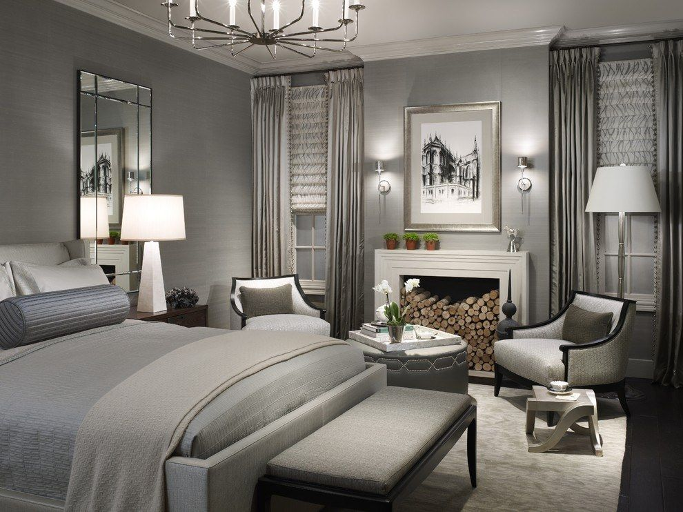 White Bedroom Furniture With Grey Curtain Walls