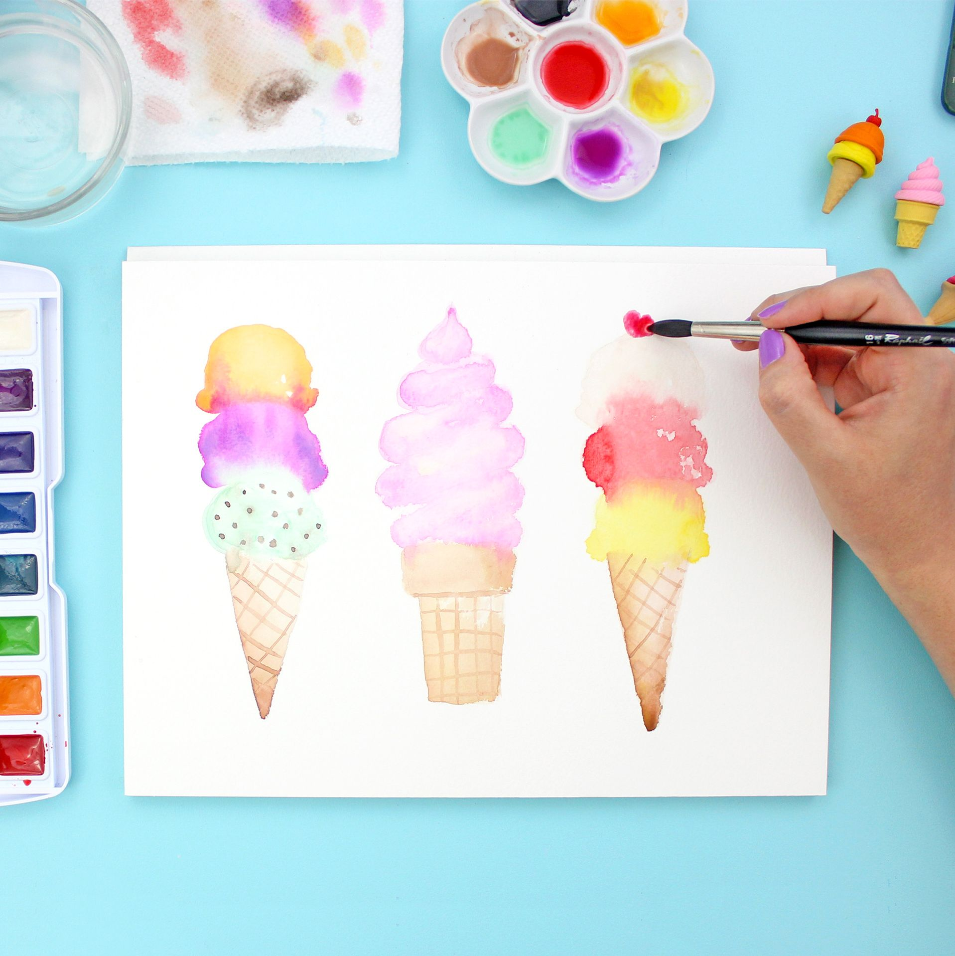 How To Paint Watercolor Ice Cream Cones Avec Images Aquarelle