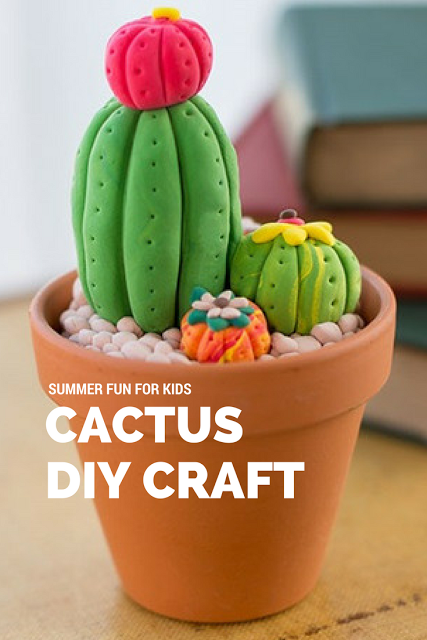 Cactus Kids DIY Clay Craft using Crayola Model Magic which has a secret compartment for children to hide their special treasures or for older kids and grownups to use as a decorative desk organizer. Free Directions for this and other fun crafts for children and crafty adults
