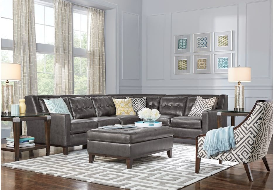 San Giovanni Gray 4 Pc Leather Sectional Leather Living Rooms Gray Living Room Sets Furniture Leather Sectional Living Room Leather Living Room Furniture