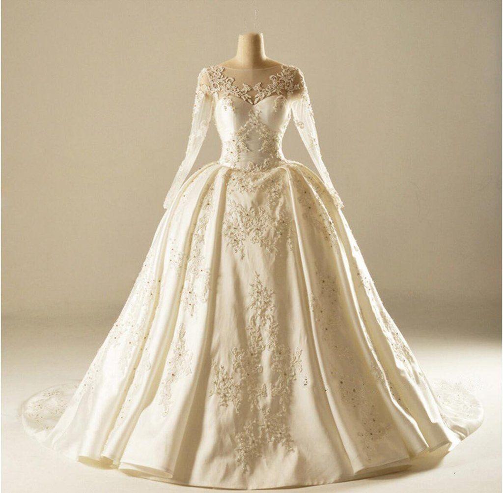 Long sleeve v neckline lace long tail wedding dresses custom made