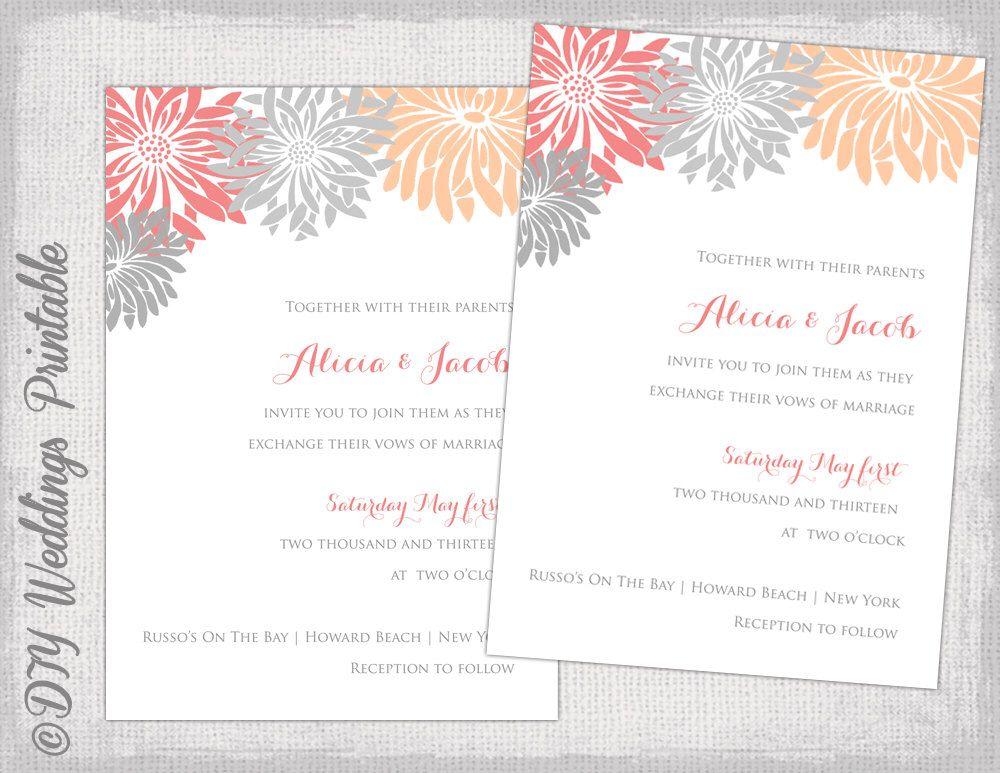 Editable invitation template coral peach gray diy gerber daisy editable invitation template coral peach gray diy gerber daisy wedding invitations flower burst stopboris Image collections