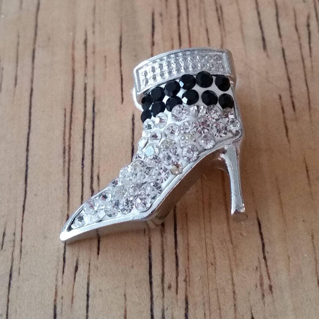 1 - Black & Clear Rhinestones High Heel Boot Shoe - Snap Charm - 18mm - Charm Chunk - Noosa - Silver Trim by GailsGiftHut on Etsy