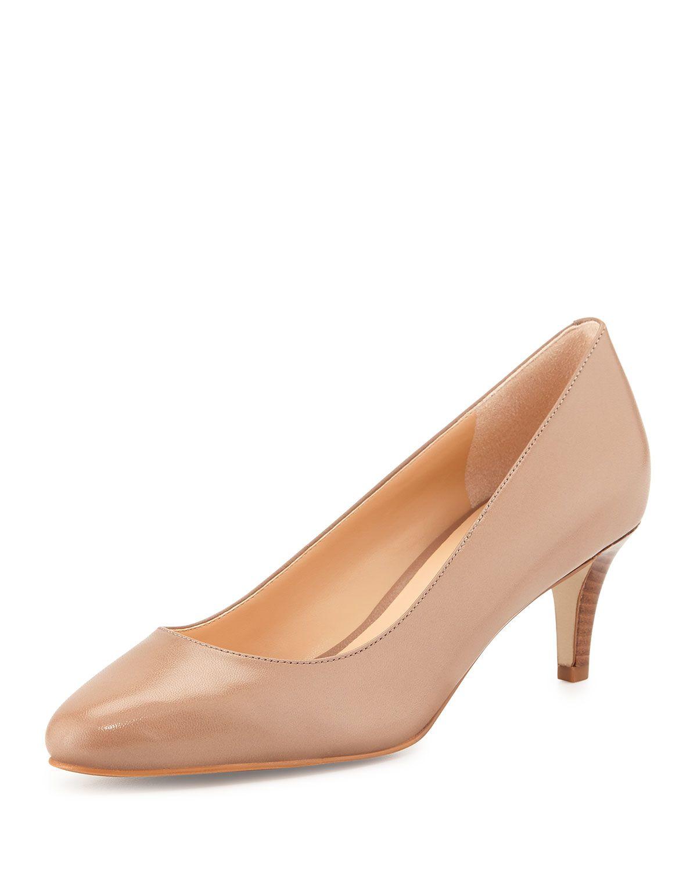 Cole Haan Lena Leather Mid-Heel Pump, Maple Sugar, Women's, Size:
