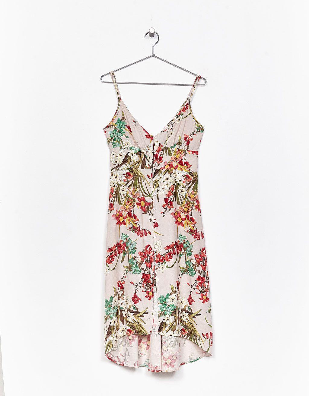 Vestido tirantes estampado flores y botones - Novedades - Bershka España -  Islas Canarias 3b20248e8051