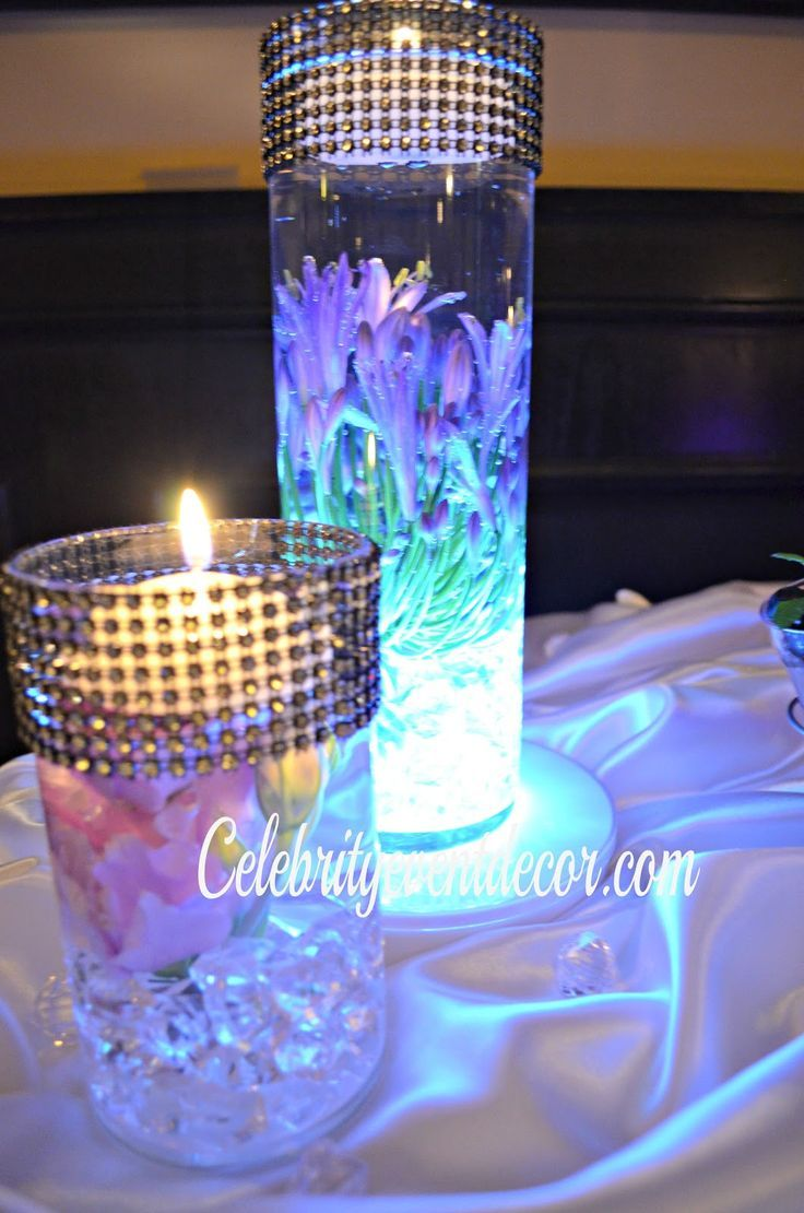 Beautifull Purple Turquoise Centerpieces For A Wedding Elegant Cinderella Skirt Accented With Silver Sparkly Brooches And Led