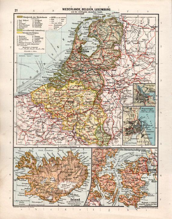 1920u0027s Netherlands, Belgium, Luxembourg, Iceland, Denmark, Antique - new world map denmark copenhagen