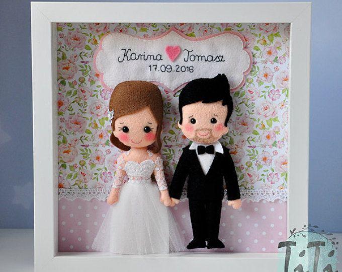 Personalised Wedding box frame, Picture box frame, Wedding memory gift, Frame box save the date, Personalised Gift, newlyweds, felt dolls