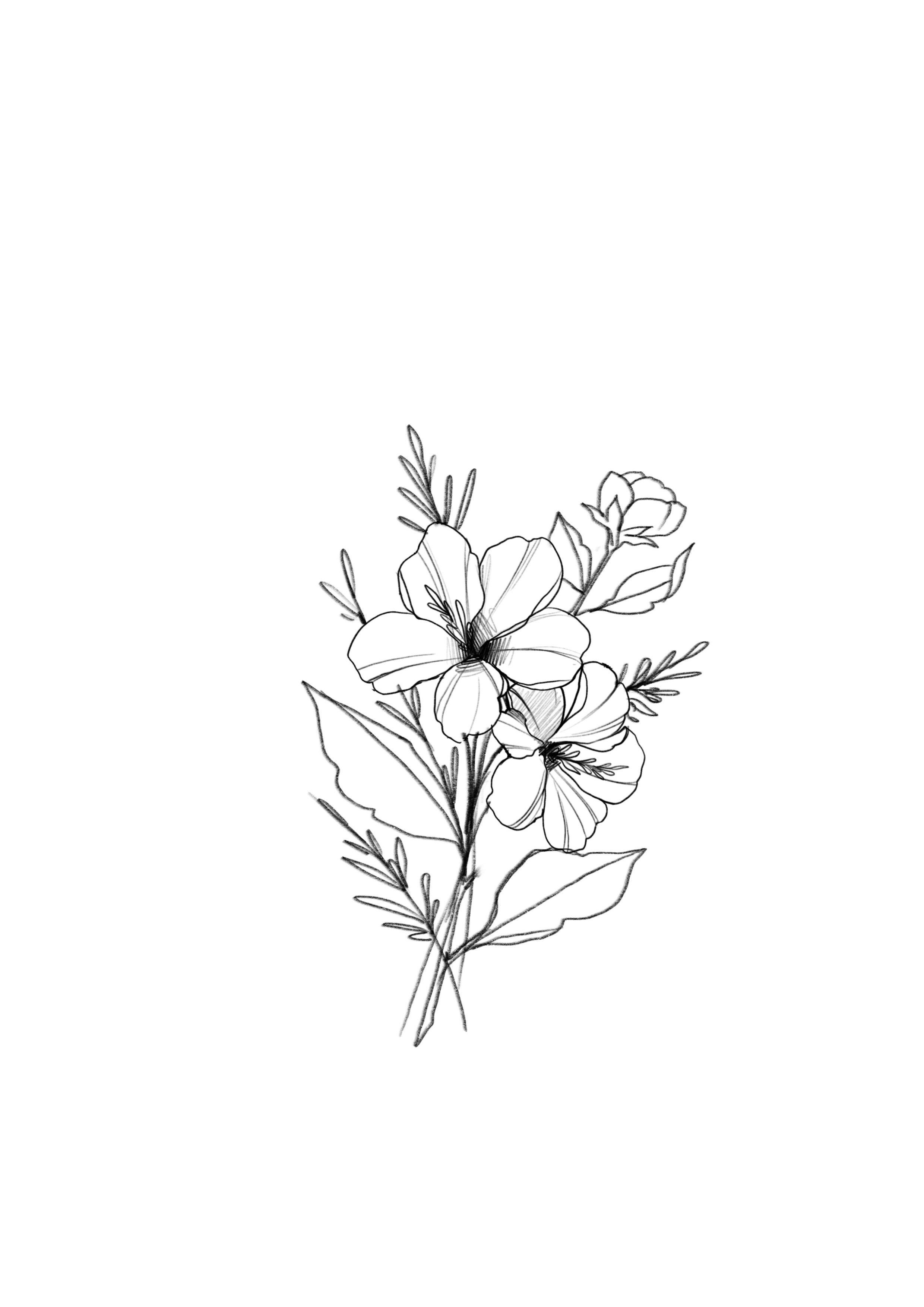 Absolutely gorgeous line art floral flowers bouquet minimalist