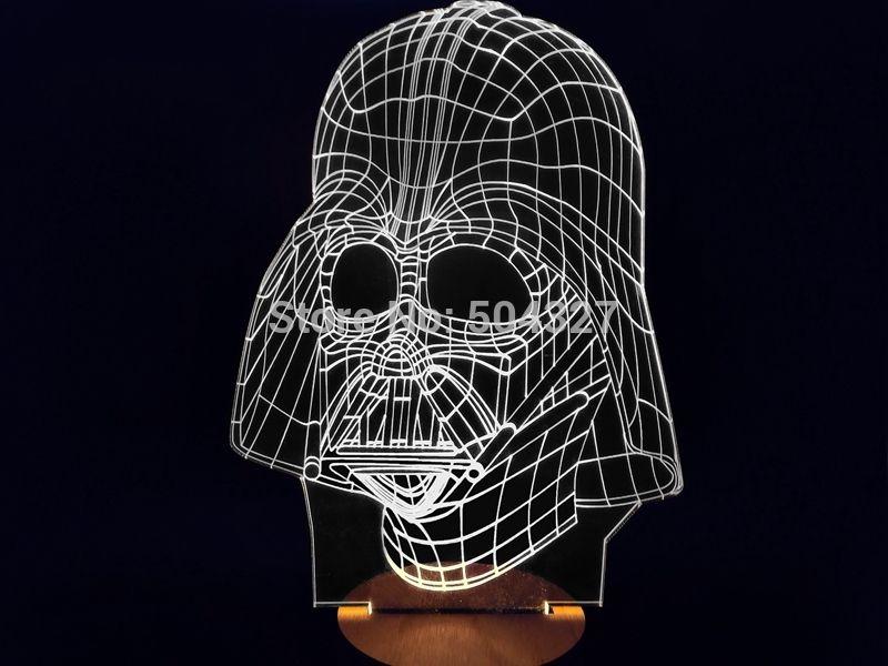 1 peça 3d madeira bulbing humor lâmpada led noite light star wars