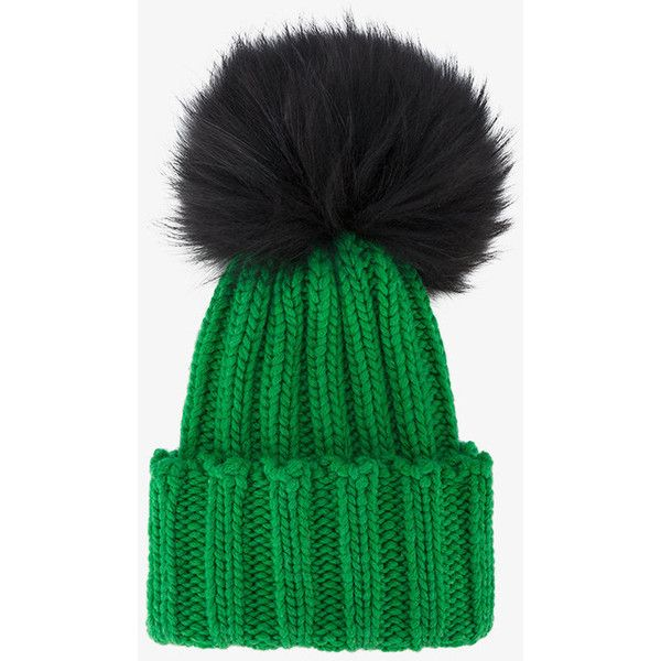 247b2c1cc18dba Inverni Green Wide Ribbed Cashmere Hat With Fur Pom Pom ($275) ❤ liked on Polyvore  featuring accessories, hats, green, green hat, inverni hats, animal fur ...