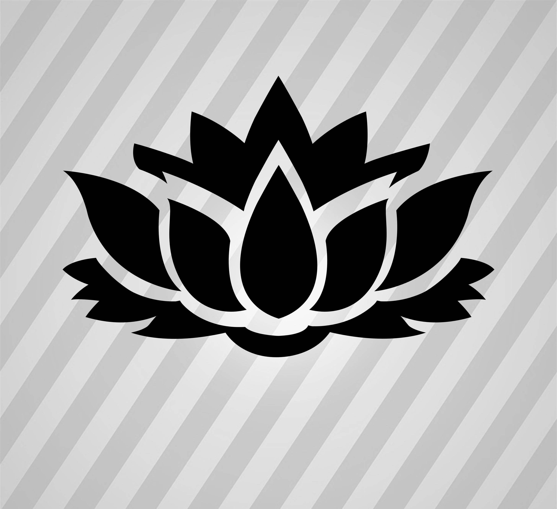 Lotus Flower Svg Silhouette Laser Cut Vector Dxf Stencil Pdf Png