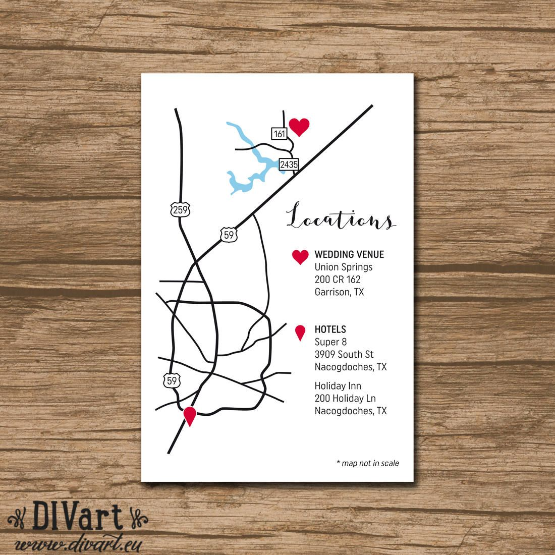 Custom Wedding Map, Event Map, Directions, Locations - PRINTABLE ...
