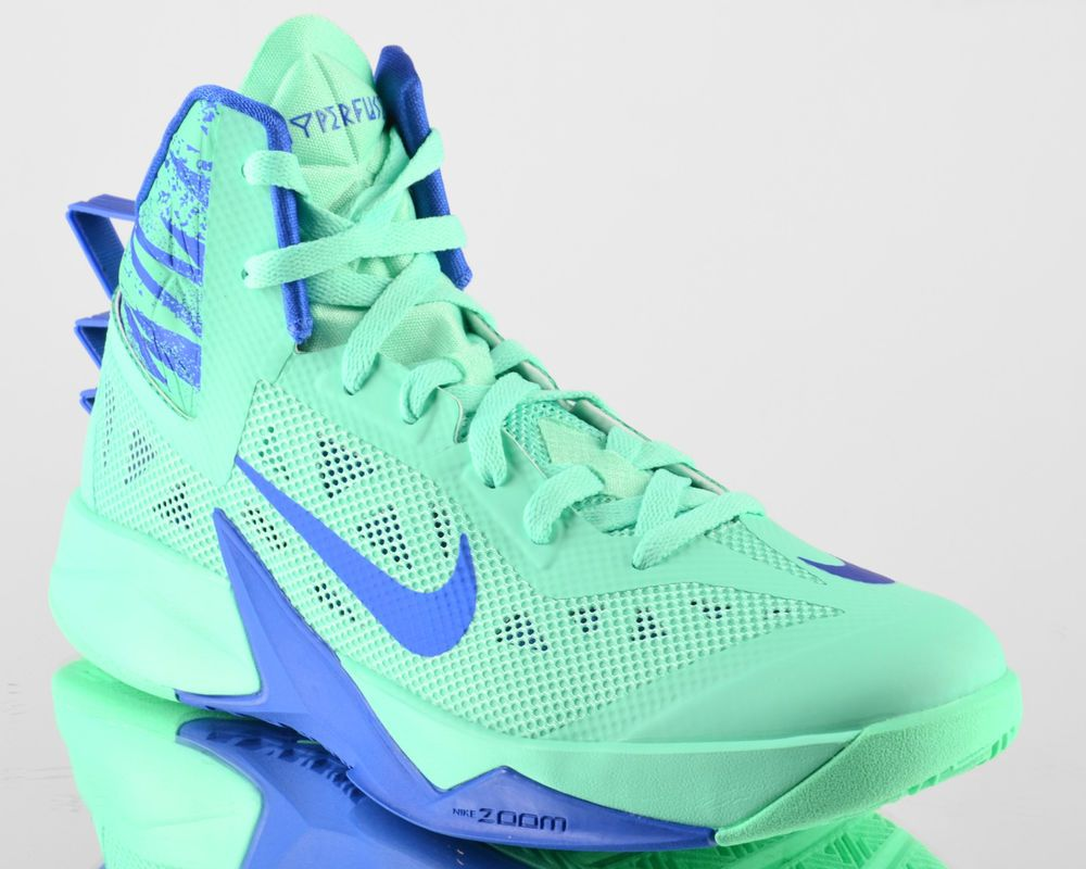 Nike Zoom Hyperfuse 2013 mens basketball shoes NEW green glow game royal
