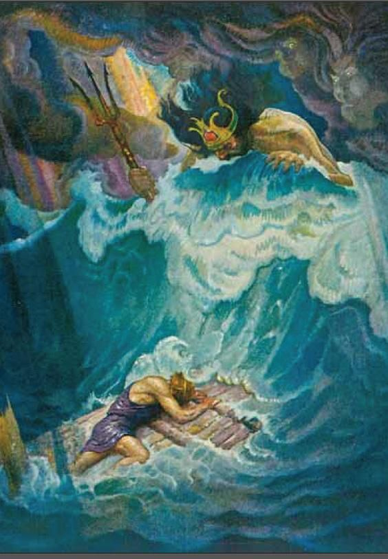 Newell convers wyeth ulisse sulla zattera. illustrazione da the