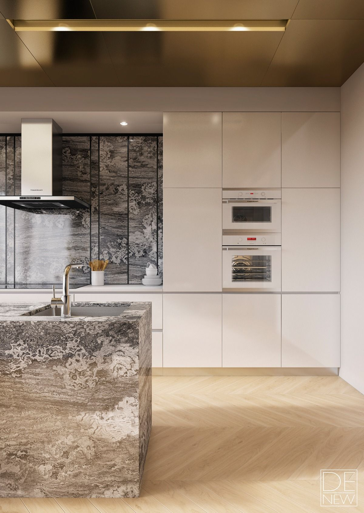 Sleek siematic cabinets play off natural and metallic for Sleek modern kitchen cabinets