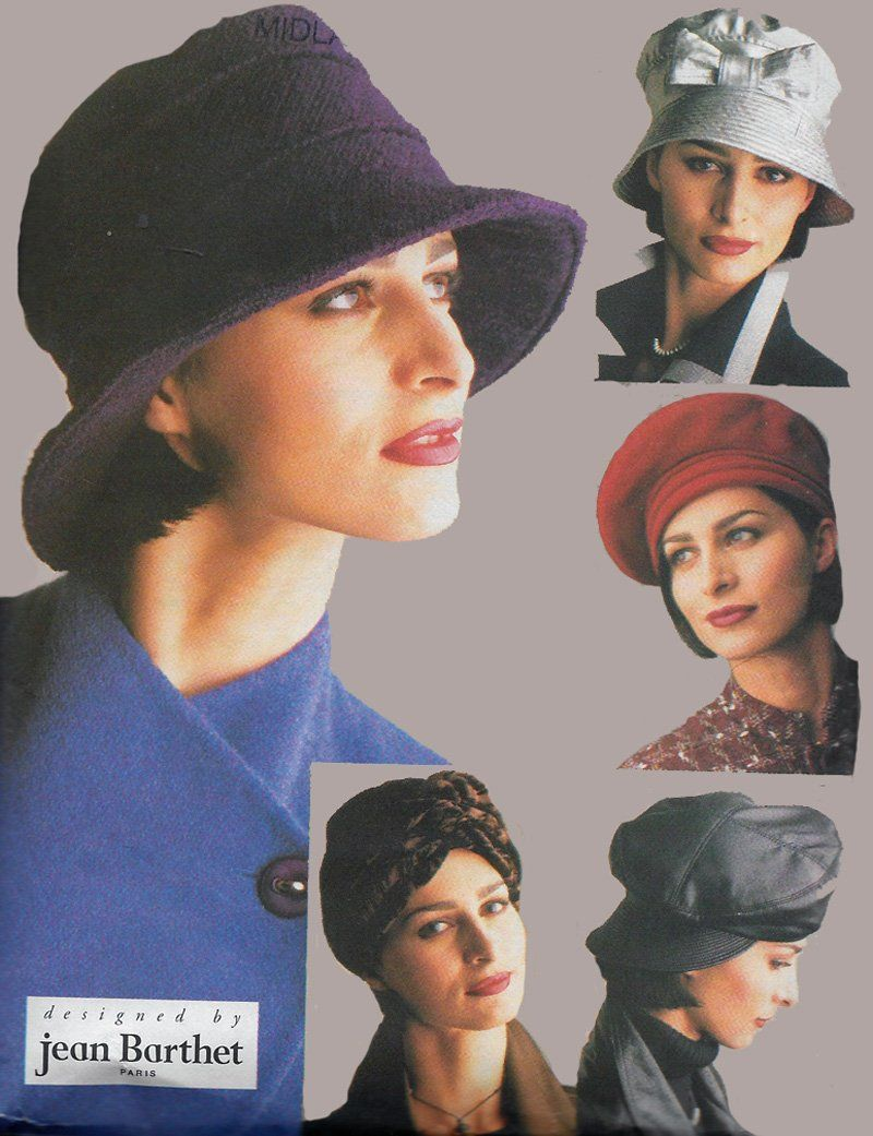 ac3bcc388c9 Vintage 90s Hat pattern Jean Barthet Vogue 9333 Sewing Pattern 5 styles