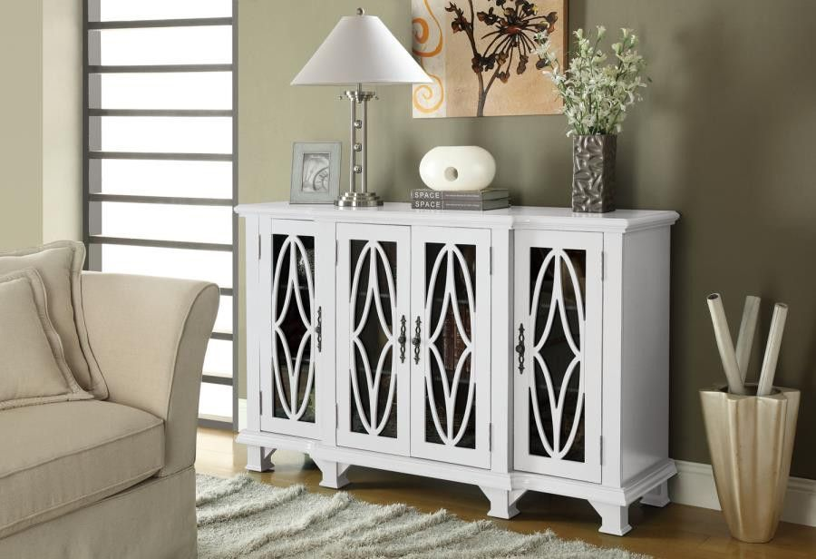 Large White Cabinet with 4 Glass Doors