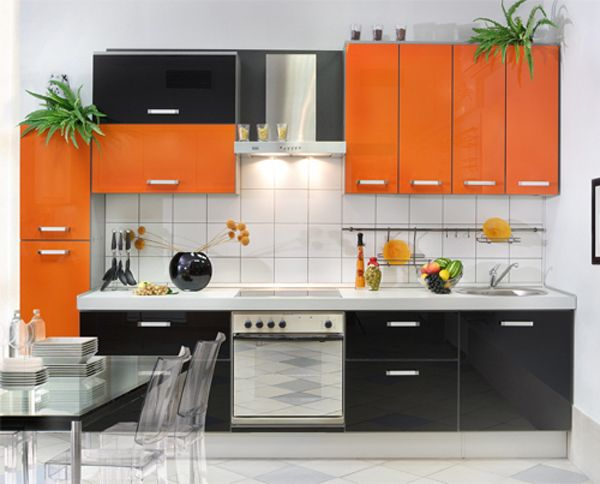 Kitchen With Black And Orange Color