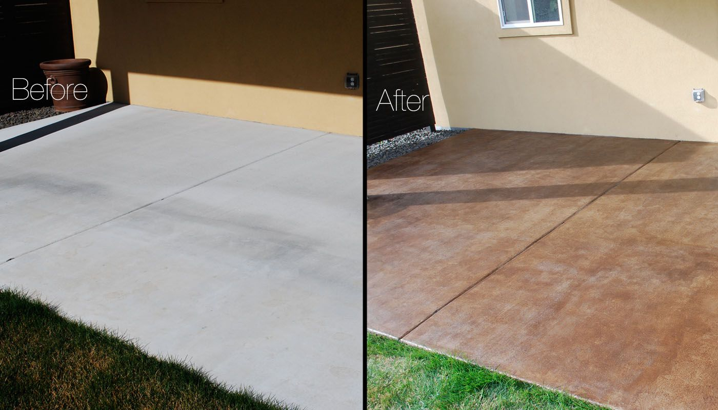 DIY Project: How To Stain A Concrete Patio | The Garden Glove. Terrasse  BetonTacheMon ...