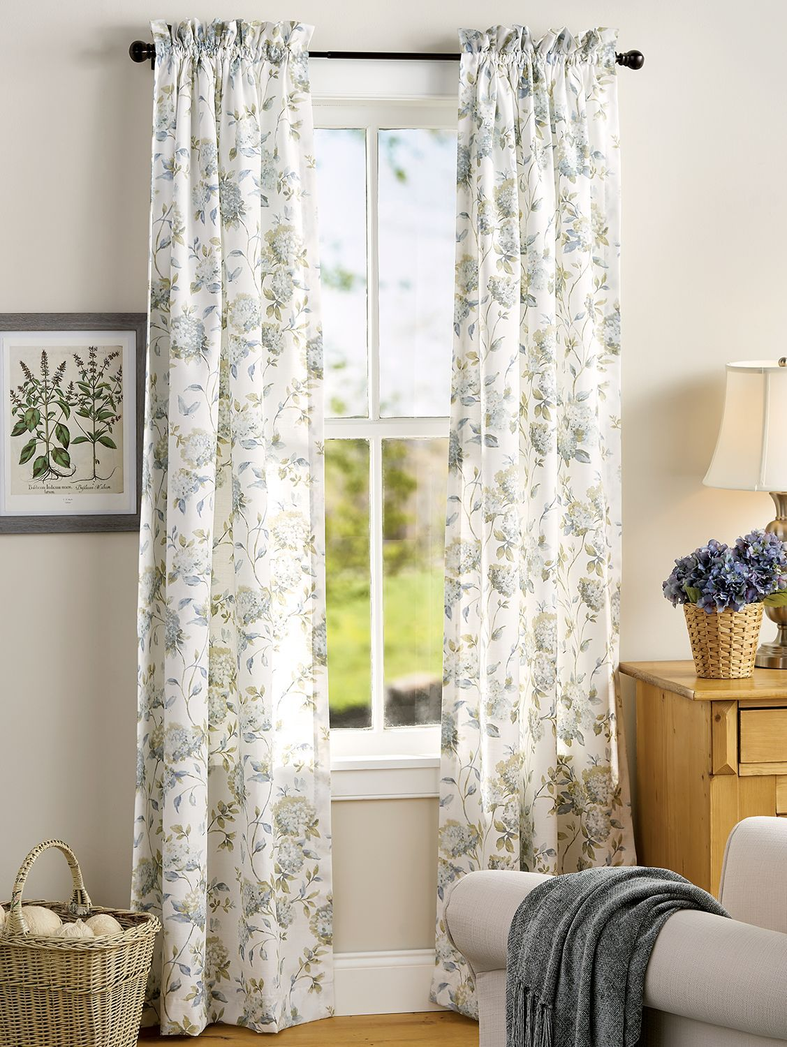 Whispering Hydrangea Rod Pocket Curtains In 2020 With Images