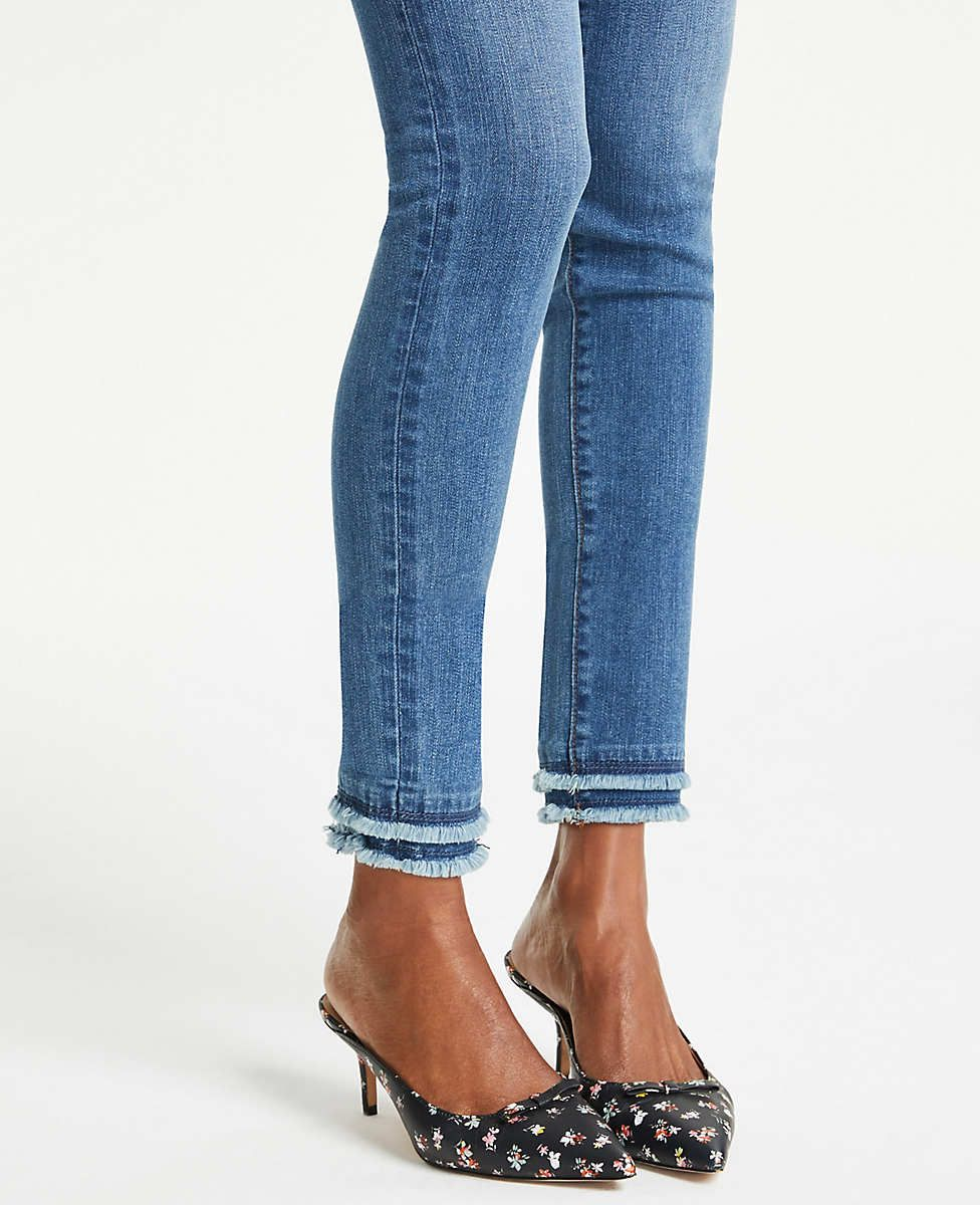 7c0e62bb35 Frayed Performance Skinny Ankle Jeans in Bright Mid Indigo Wash | Ann Taylor