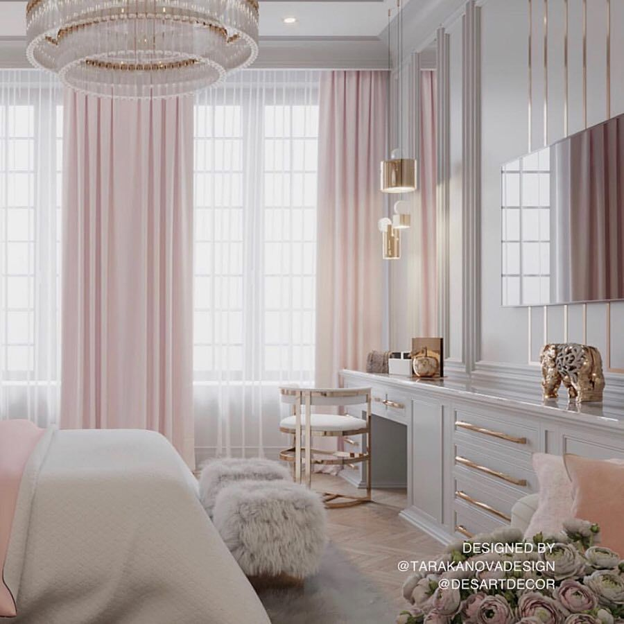 "T.H.I. INTERIORS on Instagram: ""A beautiful girl's bedroom with gorgeous gold details� . . . @tarakanovadesign #art #interiors #interiordesign #architecture…"""