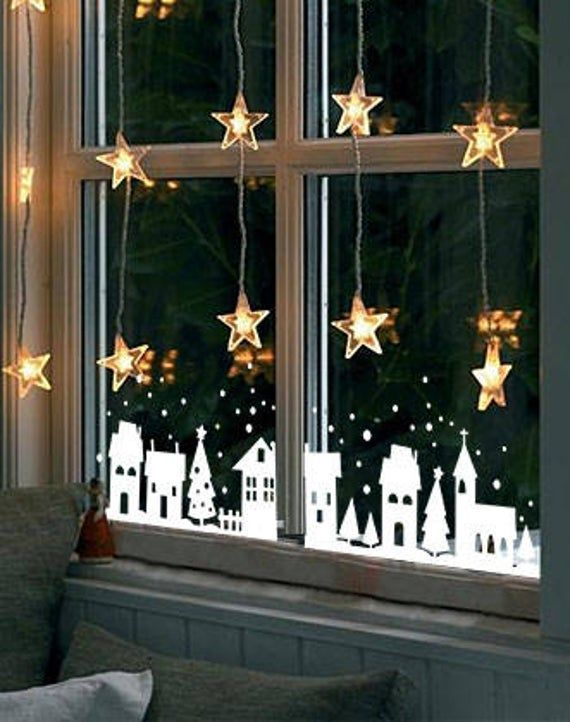 Weihnachtsdekoration, Weihnachtsfensteraufkleber, Fensterdekoration, Winterdorf, Weihnachtsst... #diychristmasdecor