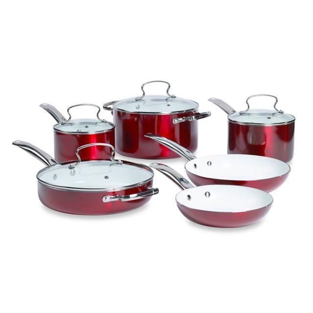 Product Image For Denmark 10 Piece Ceramic Nonstick Aluminum Cookware Set Cookware Set Ceramics 10 Things