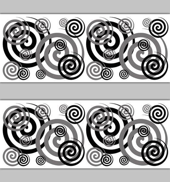 Black Grey Gray Swirl Spiral Wallpaper Border Decal Wall Art Abstract Stickers Decal Wall Art Wallpaper Border Geometric Decals