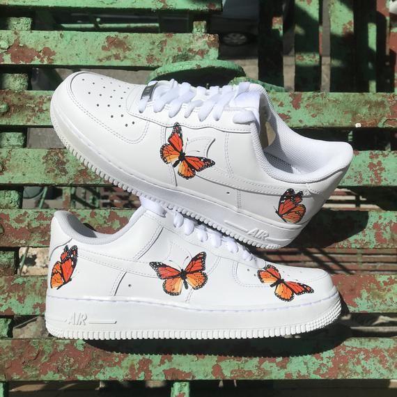 Monarch Orange Butterfly Nike AF1 Custom in 2019   Butterfly