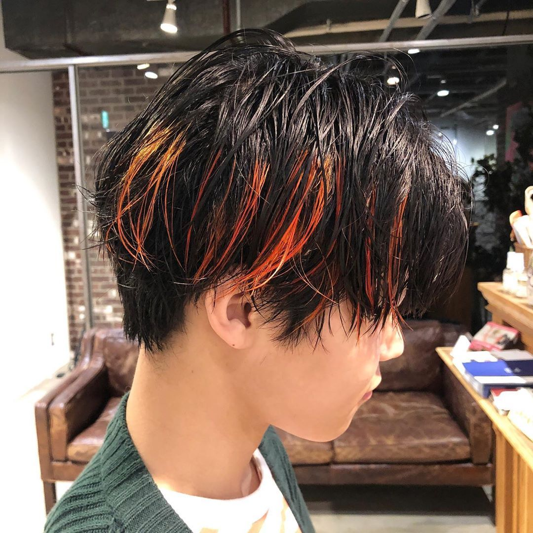 Yuma 韓国ヘア 韓国マッシュ On Instagram オレンジメッシュ ウェットヘア ごえもんカラー Koreanカット ジミンちゃんのヘアーは男女関係なく人気です 僕のお客様の8割は韓国好きの方で 2020 韓国 ヘア ウェット ヘア