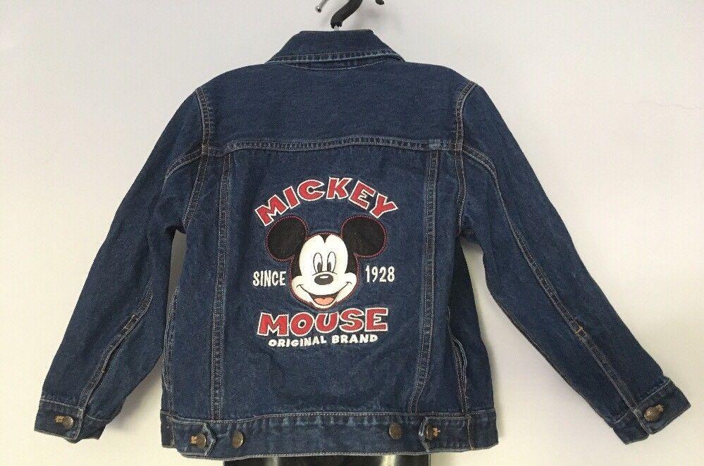 915e13c20f Disney Mickey Mouse Denim Jean Jacket BOY GIRL Disney Store Small 6 ...