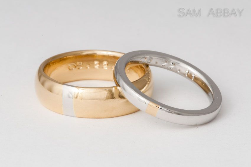 Thick inlay stripes from each others' rings