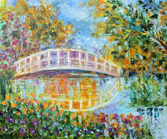 Original oil painting MONET GARDEN LANDSCAPE by Karen Tarlton palette knife impasto fine art impressionism. $275.00, via Etsy.