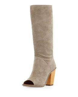 X28CC VC Signature Opah Peep-Toe Suede Knee Boot, Roccia Gray