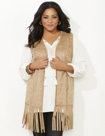 Salinas Fringe Vest | Catherines  Stay on-trend this season with our flowing fringe, faux suede vest. Laser-cut patterns cover the front to complete this boho look. If you love this style, look for our Salinas Fringe Skirt. Openfront. Princess seams. Solid back. Catherines tops are perfectly proportioned for the plus size woman. #catherines #catherinesplus #plussize #plussizefashion #fringe #bohostyle