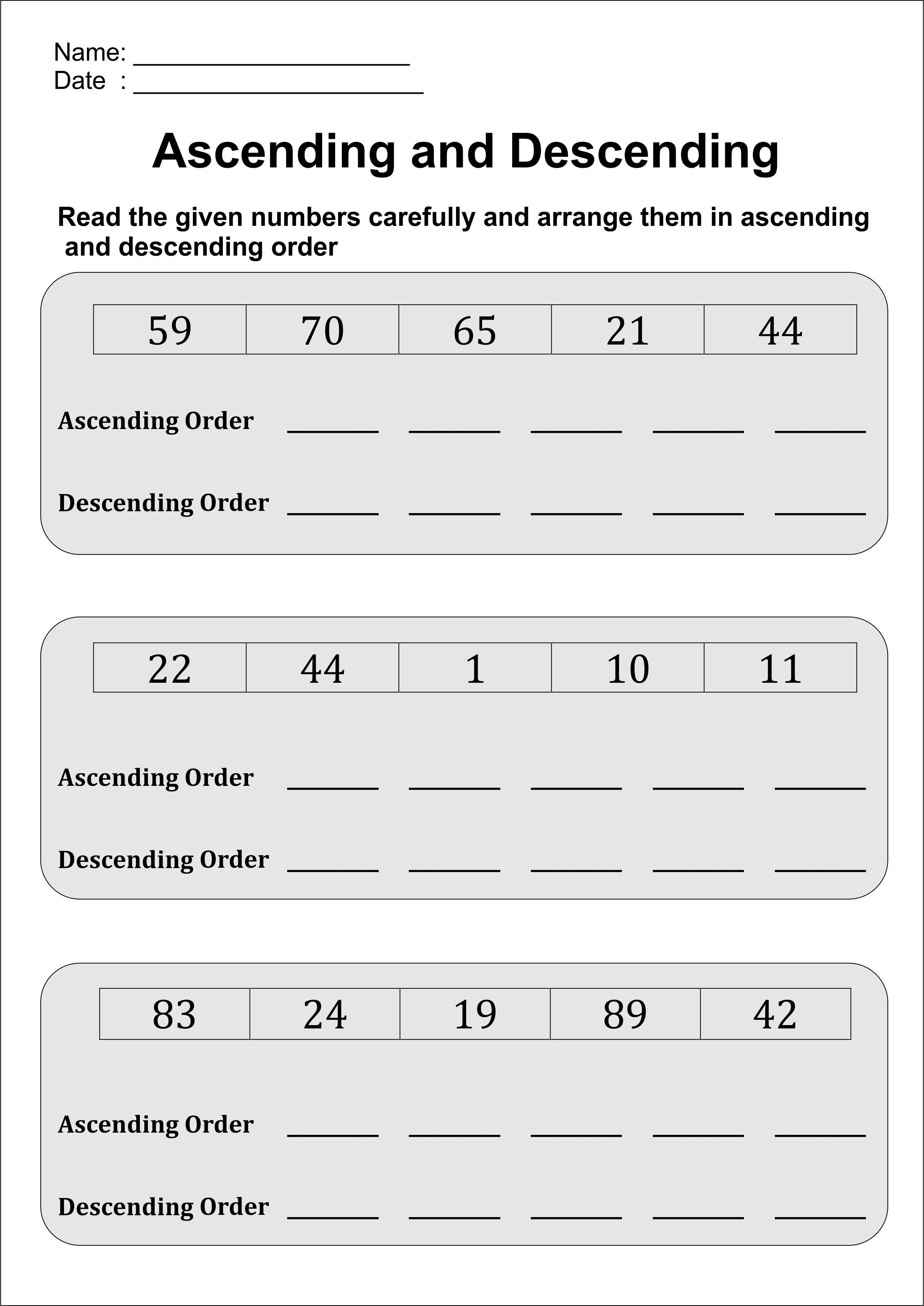 Arranging Numbers In Ascending And Descending Order