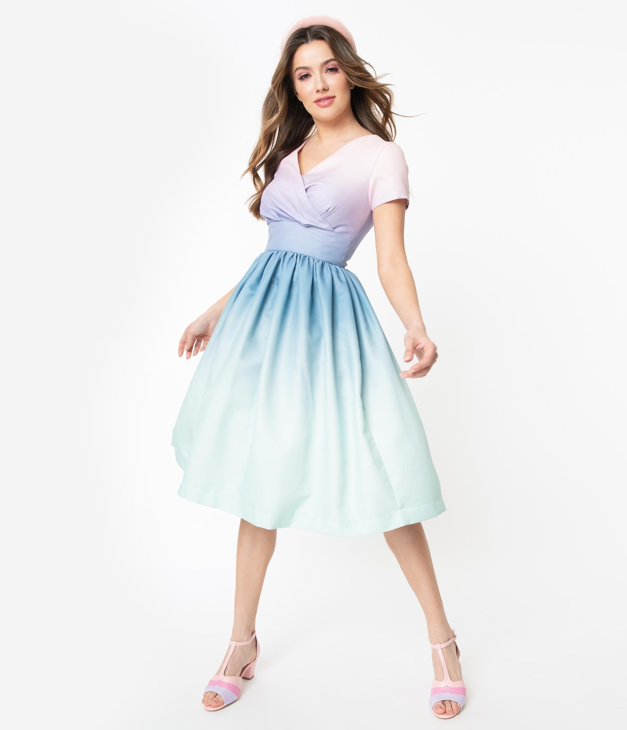 Pastel Ombre Alyssa Swing Dress In 2020 Swing Dress Unique Dresses Vintage Dresses