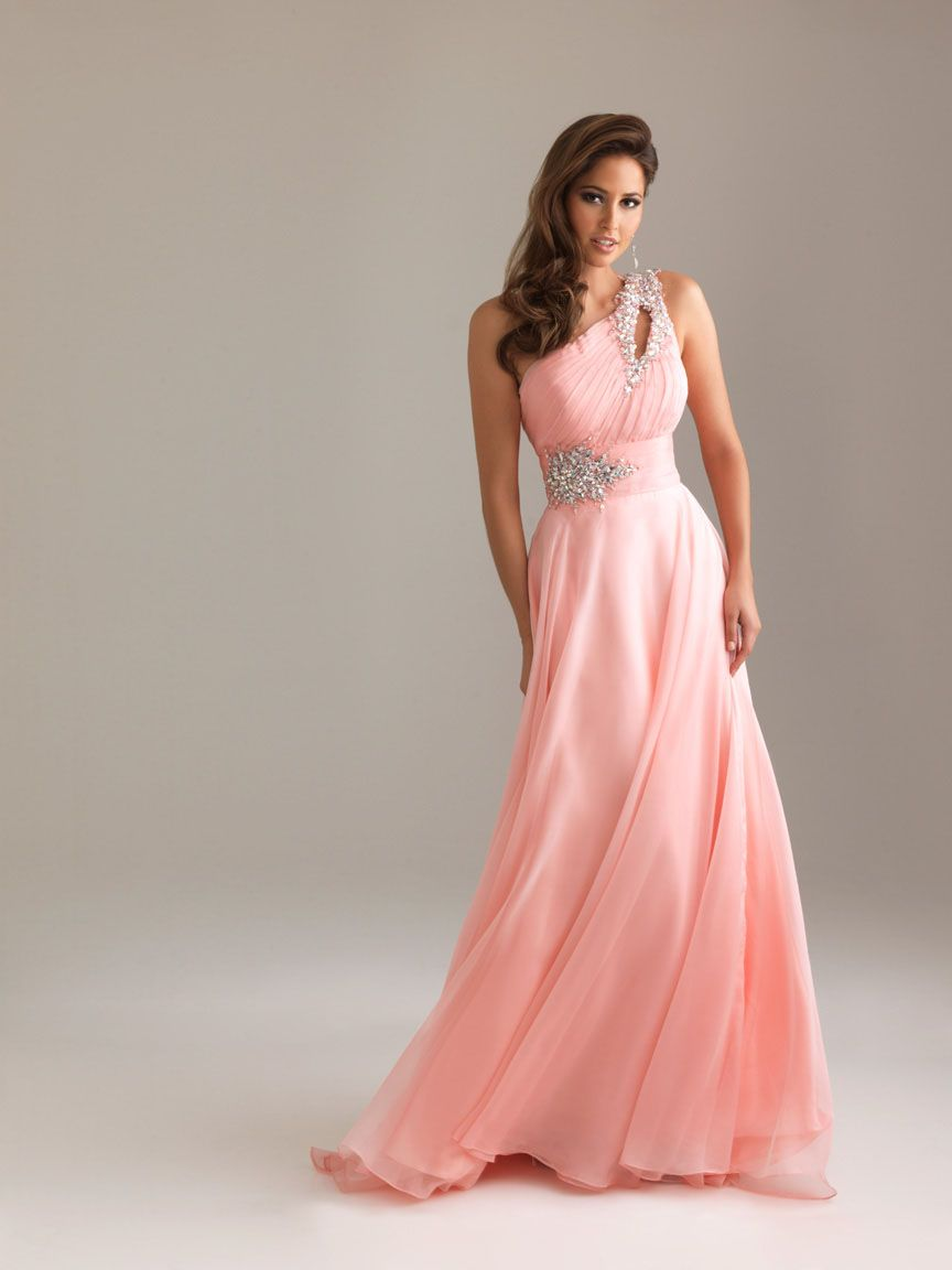 Empire one shoulder crystal long pink dress for the love of