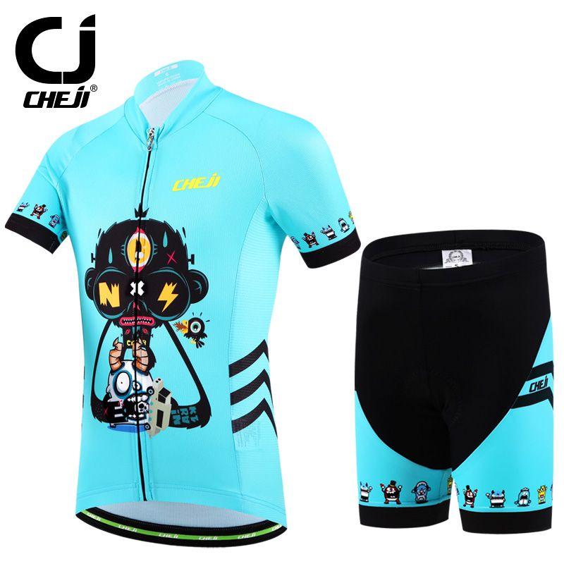 Cheji Summer Children Cycling Clothing Sets Boys Girls Bike Jersey Shorts  Sets Team Bicycle ciclismo Kids af5e593d7