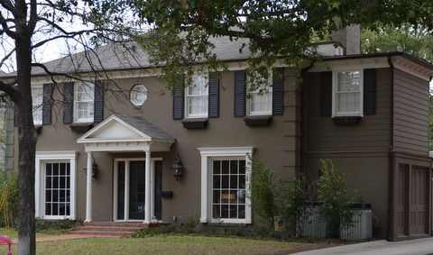 Dark Brown House With Black Shutters And White Trim