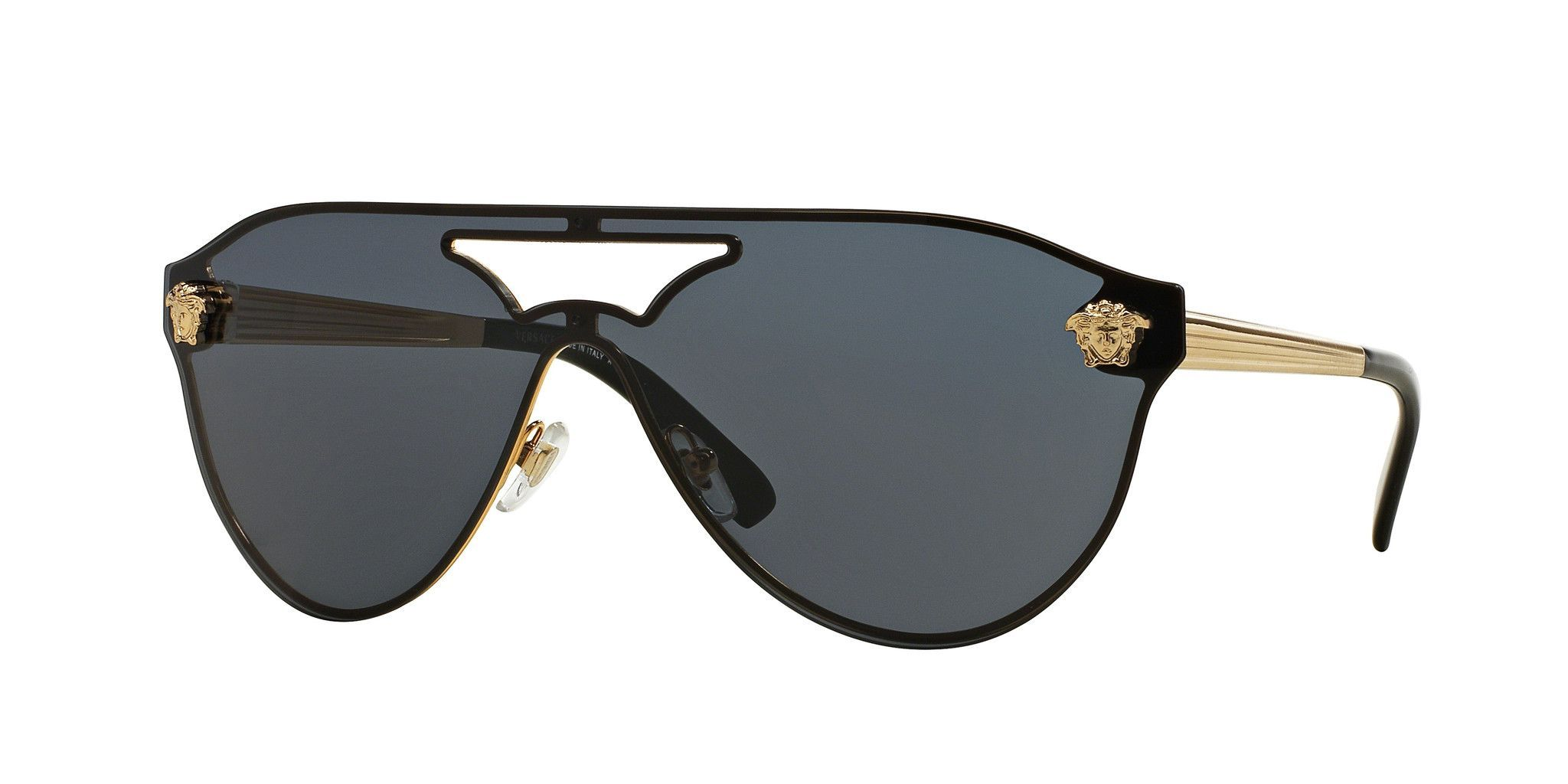 6887cad0d04f Versace VE2161 100287 42mm Sunglasses are a Medusa Visor style. Featuring  Medusas on the top left and right of the lens frame
