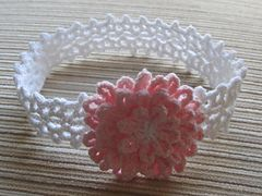 Ravelry: White Lacy Crochet Headband with a Pink Flower pattern by Yelena Chen