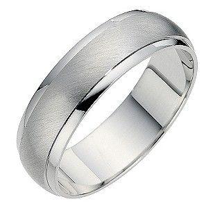 Silver Matt Polished Finish 6mm Court Ring H Samuel
