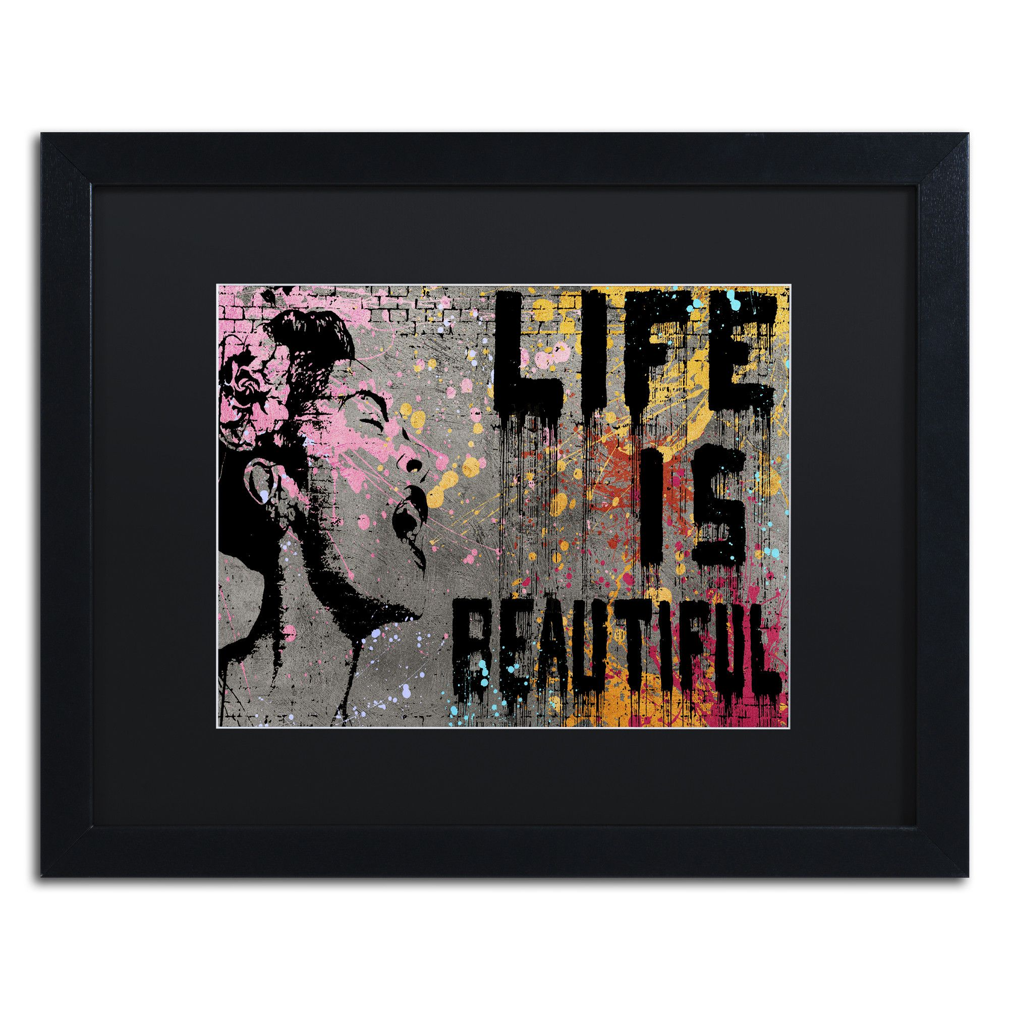 Life Is Beautiful By Banksy Framed Graphic Art In Black