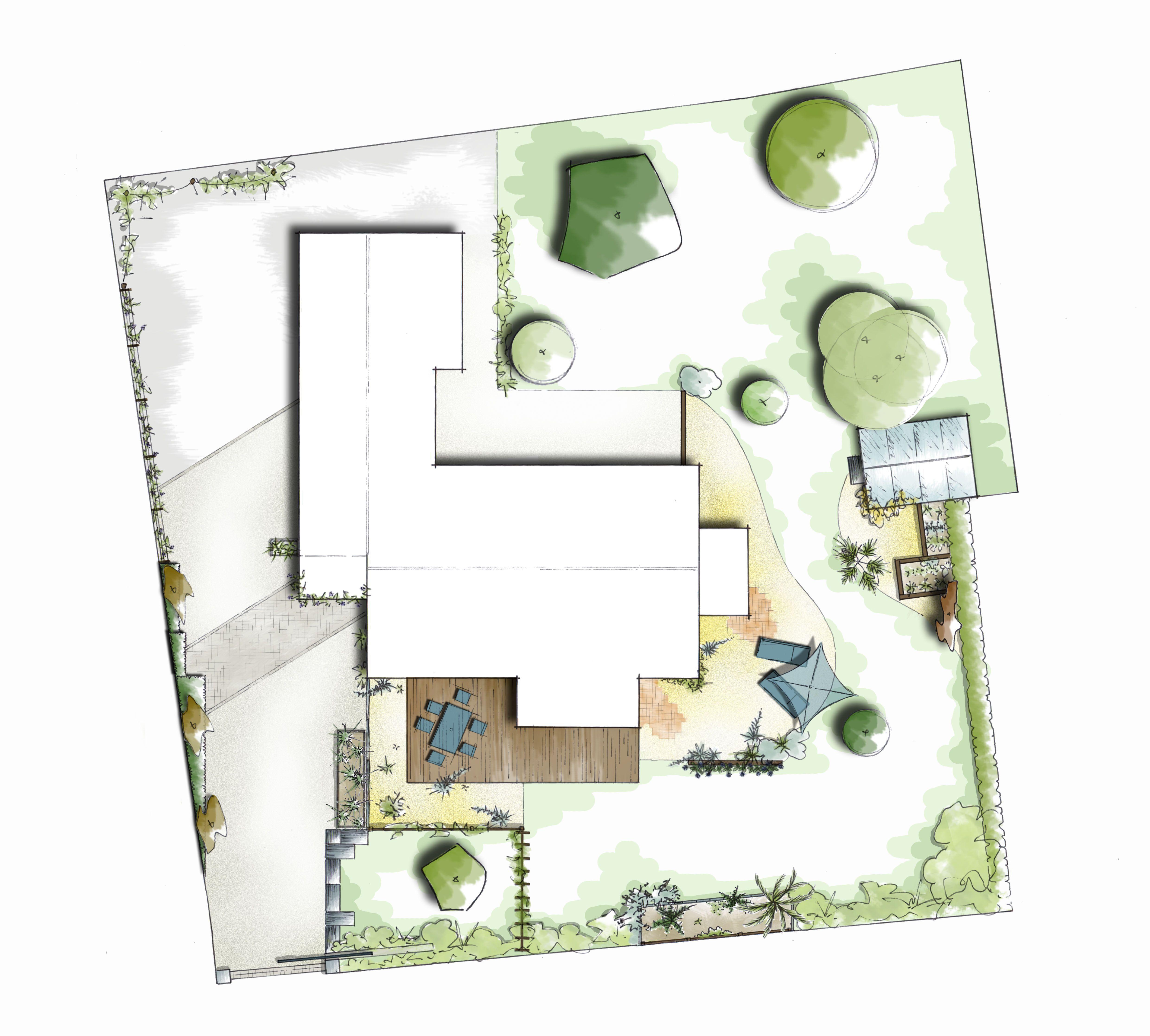 Plan d 39 am nagement paysager avec entr e espace d tente et for Plan amenagement exterieur maison