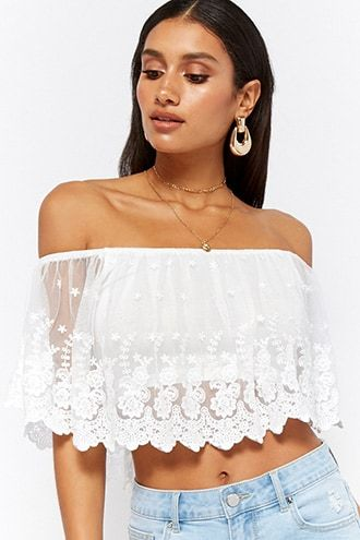 061c994c21be8 Scalloped Lace Off-the-Shoulder Crop Top. Find this Pin and more on  Products by Forever 21.