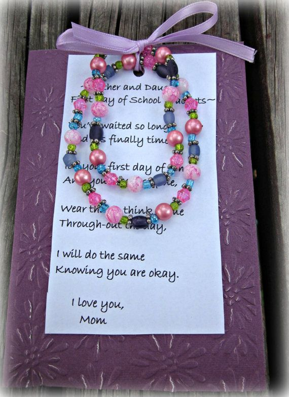 Mother And Daughter First Day Of School Bracelet Set On